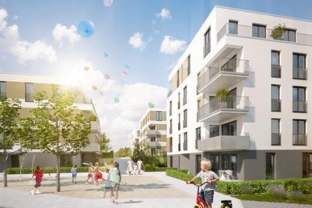 """Unverbindliche Illustration des WHS-Projekts im Baugebiet """"Quartier Seestraße 80"""". Foto: Wüstenrot Haus- und Städtebau"""