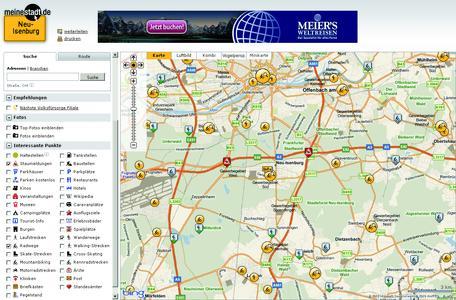 Verkehrsmeldungen und Wanderrouten erweitern POI-Sammlung in den Stadtplänen von meinestadt.de