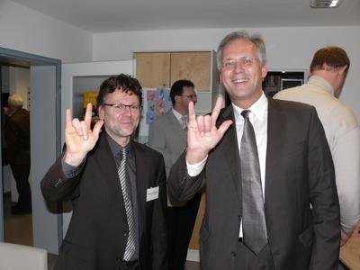 Kirchenrat Pfr. Klenk, Leiter des STZ und Bezirkstagspräsident Richard Bartsch