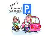 Cover der Hinweiskarte für Falschparker, das Cartoon erstellte der an MS-erkrankte Künstler Phil Hubbe