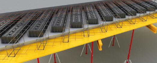 AIRPLAST Schalung kann bei vorgefertigten Decken, aber auch bei Ortbeton Decken verwendet werden. Das Betonieren muss auf 2 Güsse erfolgen, damit die Hohlkörper nicht aufschwimmen (erst bis etwa 2 cm über Unterkante, zweite Schüttung auf restliche Höhe)