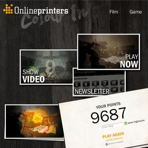 """On the homepage of the online shop onlineprinters.com and on YouTube, the online print shop invites its customers to hunt for points. """"Add Colour to the World!"""" is the mission of this game with colours, Copyright: Onlineprinters GmbH"""