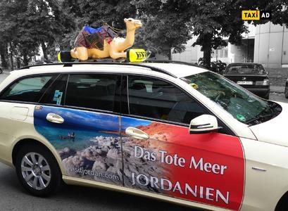 Kamele im Gegenverkehr Jordanienkampagne von Taxi-AD