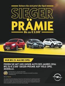 Die neuen Opel-Modelle sind echte Siegertypen – und deshalb gibt's jetzt auch die Opel-Sieger-Prämie: Beim Kauf eines sofort verfügbaren Neuwagens lassen sich so bis zu 3.500 Euro sparen