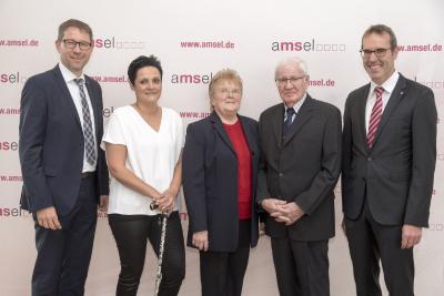 Alle Preisträger der AMSEL-Stiftungspreise 2018 (v.l.n.r.): Markus Saur, Aida Alic, Erika und Franz Brodesser und Prof. Dr. med. Mathias Mäurer
