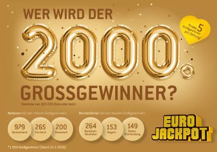 Ein besonderes Ziehungsjubiläum wird es aller Voraussicht nach am kommenden Freitag (20. März) geben. Möglicherweise wird der 2.000. Großgewinner einen Gewinn von mindestens 100.000 Euro sein eigen nennen können. Denn: Seit dem Start der Lotterie Eurojackpot im März 2012 konnten bei bisher 418 durchgeführten Ziehungen 1.998 Tipps zu Großgewinnern gemacht werden