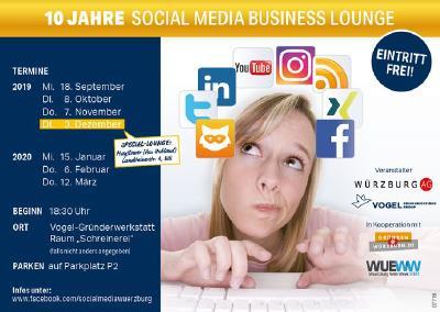 """Jubiläumsstaffel der """"Social Media Business Lounge"""" beginnt am 18.09.2019 (Vogel Communications Group)"""