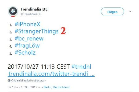 Das Hashtag #bc_renew auf Platz drei der deutschen Trending-Hashtags