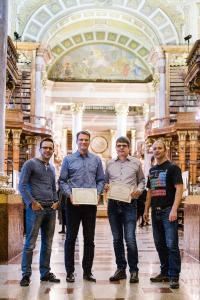 Erfolgreiches Team: Michael Sprinzl, BSc, Dr. Michael Fink, Dipl. math. Georg Mackenbrock, Dr. Thomas Layer (v.l.n.r.)