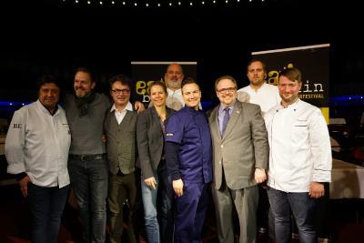 Press Conference eat! berlin: Alexander Dressel, Marco Müller, Peter Frühsammer, Sonja Frühsammer, Markus Semmler,Tim Raue, Bernhard Moser, Florian Glauert, Sebastian Frank