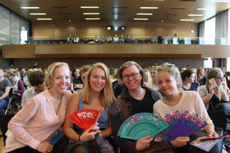Isabell Fischer aus Dresden, Vera Lorenz aus Münster, Bosse Vogt aus Hamburg und Viktoria Schuster aus Münster (von links) studieren ab diesem Sommersemester gemeinsam Musical am Institut für Musik