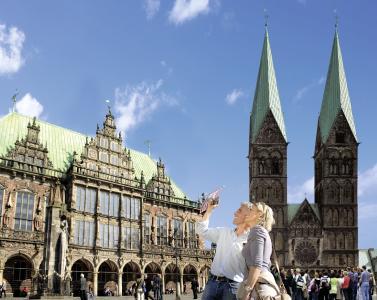 Bremen: Marktplatz, Rathaus und St- Petri Dom