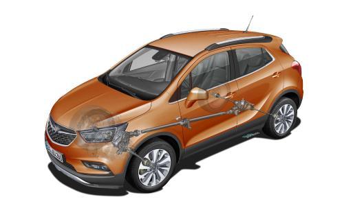 Opel Mokka X mit adaptivem Allradantrieb: Das System verteilt die Kraft stufenlos von 100 Prozent Frontantrieb auf bis zu jeweils 50:50 zwischen Vorder- und Hinterachse
