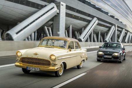 Echte Exoten: Der vergoldete zweimillionste Opel, ein Kapitän Baujahr 1956, und der 377 PS starke Lotus Omega von 1991