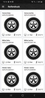 App Ansicht mit 6 Reifen