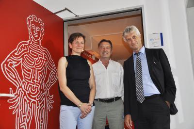 v.l.n.r: Rolf Brüggemann, Erste Bürgermeisterin Cobet und Bernhard Wehde im MuSeele