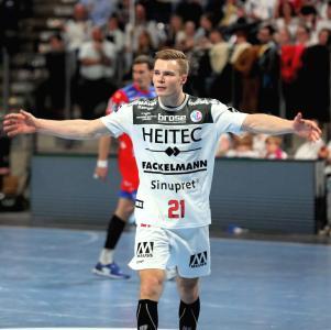 Über 4700 Fans feiern einen starker Christopher Bissel nach Treffer Nr. 6 (Foto: Jocki_Erlangen)