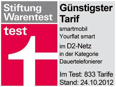Stiftung Warentest: Günstigster Tarif smartmobil.de Yourflat Smart