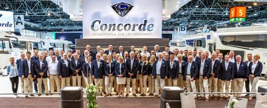 Das erfolgreiche Concorde Team auf dem Caravan Salon 2018 in Halle 5 erstmals (Foto: Concorde Reisemobile)