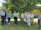 v.l.n.r. Dr. von Grünhagen (Ärztlicher Lotse), Dr. Heinritz (Praxis f. Humangenetik), Dr. Löbel (Studienzentrale), Dr. Ortmann (Thiem Research), Dr. Steeg (Kardiologie), PD Dr. Schmidt-Hieber (Hämatologie), Dr. Stolz (Kinderklinik), Prof. Dr. Fischer (Dermatologie), PD Dr. Schwabe (Sozialpädiatrisches Zentrum)