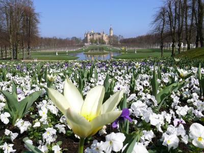 Die Gärten rund um das Schloss Schwerin laden zum Osterspaziergang ein. Foto: BUGA 2009