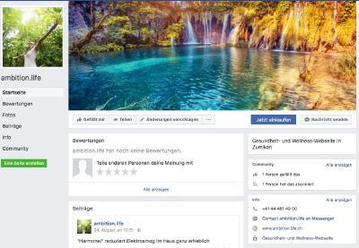 Facebook-Accoutnt der ambition.life