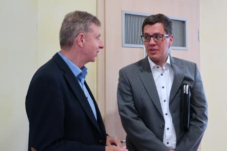 Dr. Norbert Mager (Hessisches Ministerium für Wirtschaft, Energie, Verkehr und Landesentwicklung) und Heiko Stock (Bürgermeister Gemeinde Lautertal)