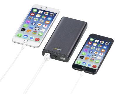 revolt Powerbank PB-520.pd mit Quick Charge 3.0 und USB Typ C PD, 20.000 mAh, 3 A, 18 Watt