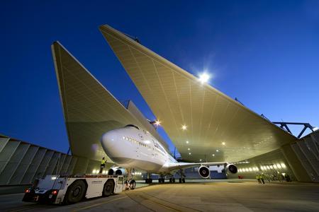 Lufthansa Technik AG. Lärmschutzhalle für Triebwerktests