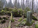 """Der """"Burgfrieden"""": Heute eine baumbestandene Blockhalde, früher ein umstrittener Grenzverlauf. Foto: Hartmut Greb, Geopark Vulkanregion Vogelsberg"""