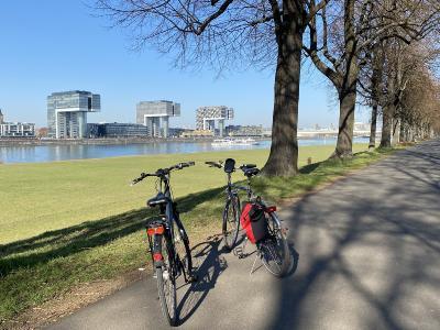 Poller Wiesen mit Fahrrad und Kranhäusern ©KölnTourismus GmbH