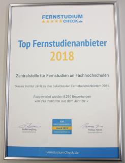 ZFH erhält Auszeichnung TOP Fernstudienanbieter 2018