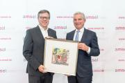 Preisträger des Medienpreises Uwe Rademacher mit Laudator Thomas Strobl