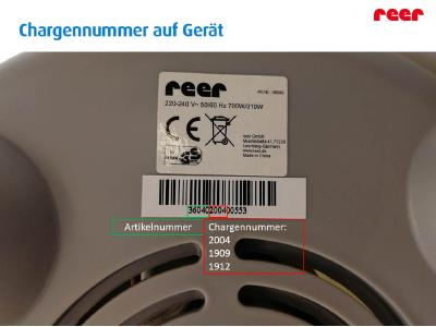 Wie finden Sie heraus, ob Ihr Gerät betroffen ist? Ermitteln Sie hierzu bitte auf der Unterseite des Gerätes die Chargennummer. Folgende Chargennummern sind vom Rückruf betroffen: 2004 , 1909 , 1912