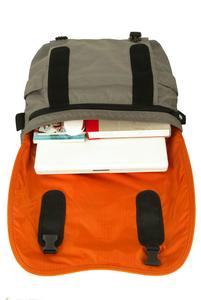 Padded fixed laptop pouch with velcro closure