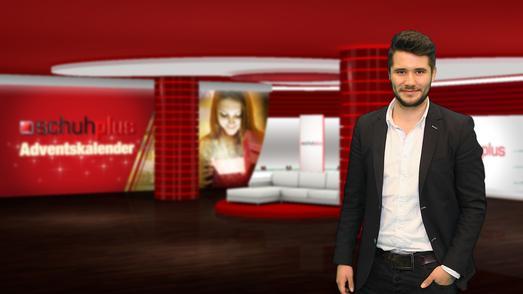 Alexander Heimann, store manager bei schuhplus - Schuhe in Übergrößen - im TV-Studio von schuhplus