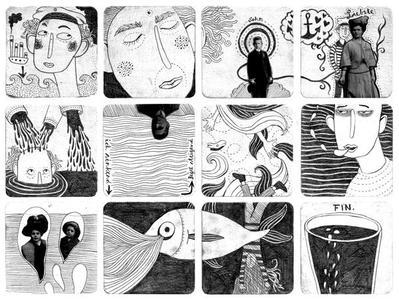 Birgit Jansen: Das Ende der Welt Christoph Schmitt: Linien No.16, Acryl und Bleistift auf Bierdeckel Fotografie Color Print, Alu-Dibond, insg. 38 x 28 cm, je Bierdeckel 9 x 9 cm, 2007