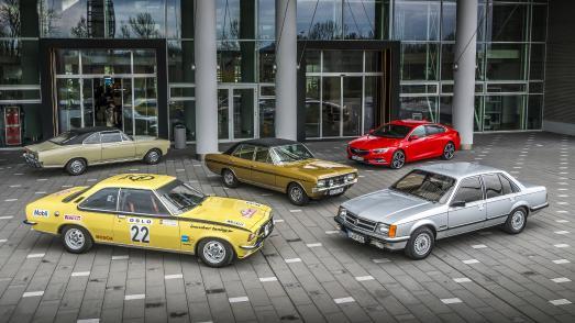 Jubiläumstreffen: Opel feiert 50 Jahre Commodore auf der Silvretta Classic. Vier Fahrzeuge der Commodore-Generationen A, B und C werden vom neuen Insignia Grand Sport begleitet