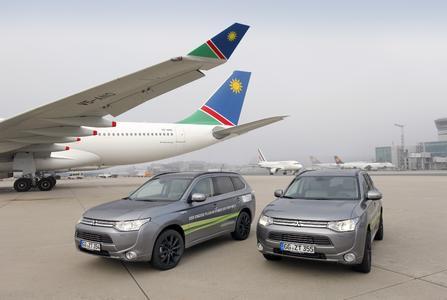 Europas Nummer eins unter Elektrofahrzeugen im von Januar bis Oktober 2014, der Plug-in Hybrid Outlander. ist auch auf dem Vorfeld des Airport Frankfurt im Einsatz, Foto: Fraport