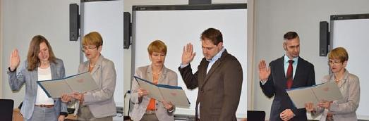 Verena Klapschus, Ronny Freier und Marc Roedenbeck (v.l.) während der Ernennung durch Wissenschaftsministerin Martina Münch © MWFK