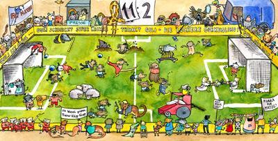 Fußball-Wimmelbild zu Matze, Mütze und der blaue Ball - Jazz-CD für Kinder