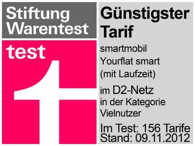 Stiftung Warentest: Günstigster Tarif smartmobil.de Yourflat Smart in der Kategorie Vielnutzer