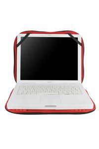 Elastische Innenschlaufen halten die Oberseite am aufgeklappten Laptop und ermöglichen in-pouch Arbeiten; Reißverschluss mit extra Schutzsystem zur Kratzervermeidung am Laptop