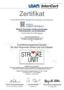 Das 4. Zertifikat für eine Regionale Stroke Unit ist gültig bis Juli 2020