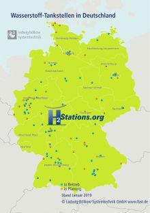Deutschland hatte auch 2018 wieder den höchsten Zubau an Wasserstofftankstellen weltweit