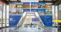 9 Städte Banner am Airport