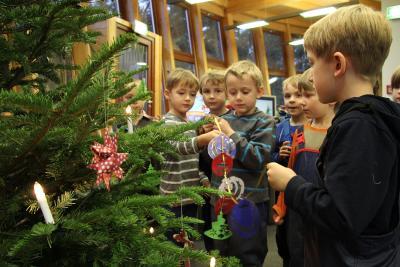 Kinder der Kita Nebelstrolche aus Kuchelmiß und der Kita Biene Maja aus Güstrow schmücken den Weihnachtsbaum im Wildpark-MV. (Foto: Wildpark-MV)