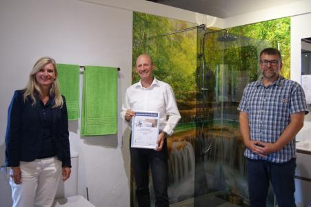 v.l.n.r.: Susanne Stiehle (Inhaberin), Markus Braun (Fachberater), Markus Schlosser (Bauleiter)