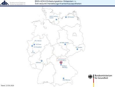 """Übersichtskarte Beteiligte Schwerpunkt-Herstellungs-Krankenhausapotheken der """"BMG-ADKA Entlastungsaktion Midazolam i.v."""", © ADKA, 06/2020"""