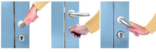 Einfach und sicher lässt sich die Tür mit Komfort-Schnell-Verriegelung SV ohne Schlüssel verriegeln (links), mit nur einer Schlüsselumdrehung wieder entriegeln (Mitte) und mit gewohntem Drücken des Türgriffs öffnen (rechts)